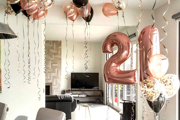 21st birthday party balloons